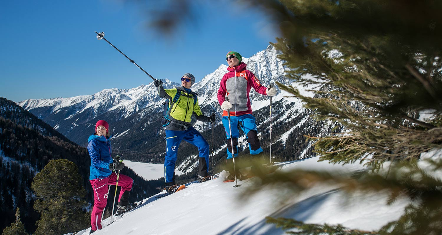 Group of ski-hikers on a trip